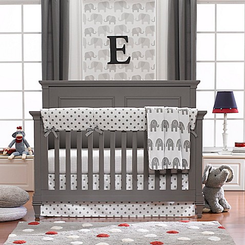 Liz and Roo Grey Elephant Crib Bedding Collection | Tuggl