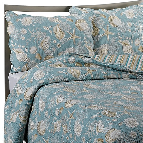 Natural Shells Reversible Quilt In Blue Beige Bed Bath