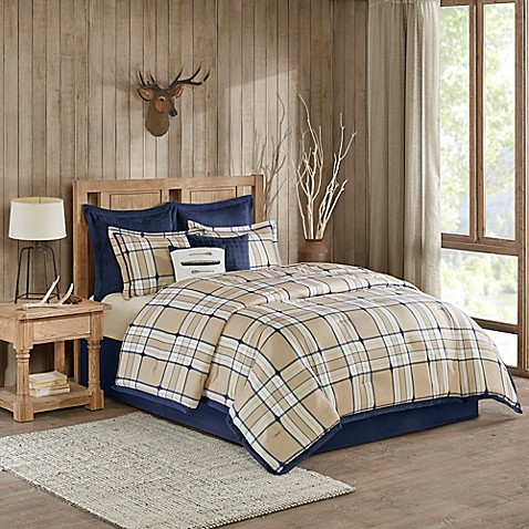 Woolrich Feather Plaid Reversible Comforter Set Tan