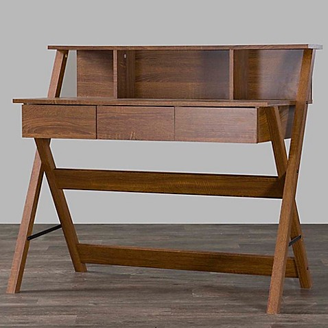 Baxton Studio Crossroads 2 Writing Desk in Brown | Tuggl
