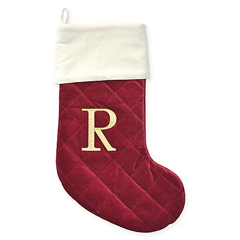 Harvey Lewis™ Thick Quilted Velvet Monogram Christmas Stocking w/Crystals from Swarovski® - Bed ...
