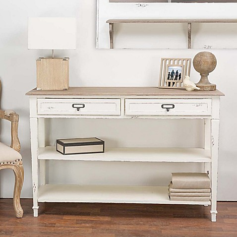 Baxton Studio Dauphine Console in White/ Brown at Bed Bath & Beyond in Cypress, TX | Tuggl