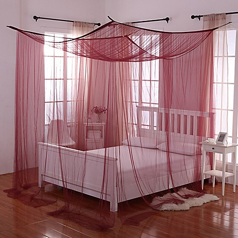 buy palace 4 poster bed canopy in burgundy from bed bath beyond. Black Bedroom Furniture Sets. Home Design Ideas