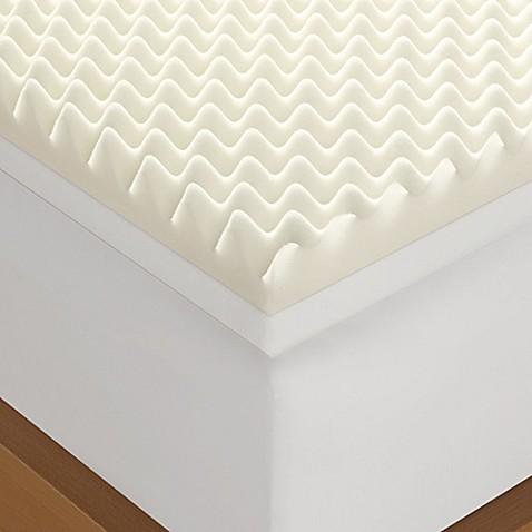 Serta 4 Inch Memory Foam Mattress Topper in White Bed