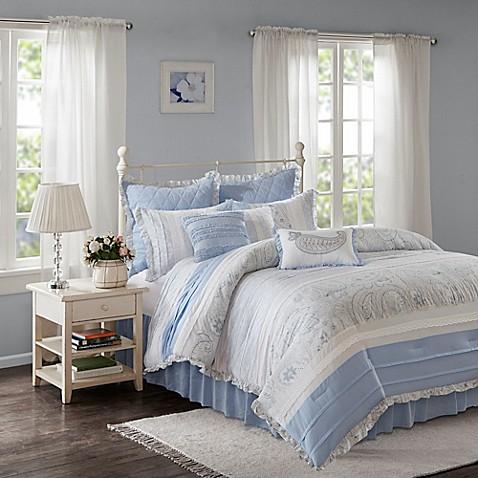 Madison park mirabelle 9 piece comforter set in blue bed - Madison park bathroom accessories ...