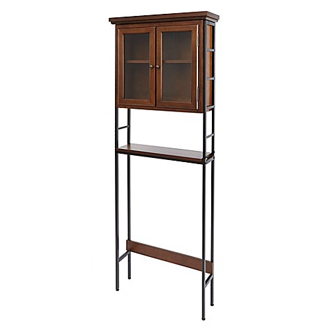 Buy silverwood leighton space saver bathroom cabinet in dark wood from bed bath beyond for Bathroom space saver cabinets