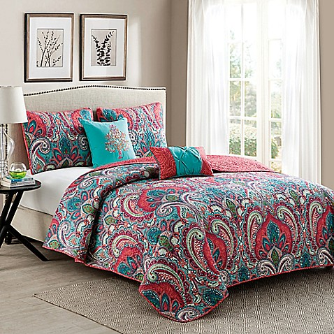 Vcny Casa Re Al Quilt Set In Pink Turquoise Bed Bath