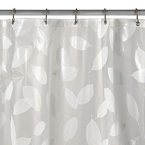 Buy Modern Leaf White Vinyl Shower Curtain From Bed Bath Beyond