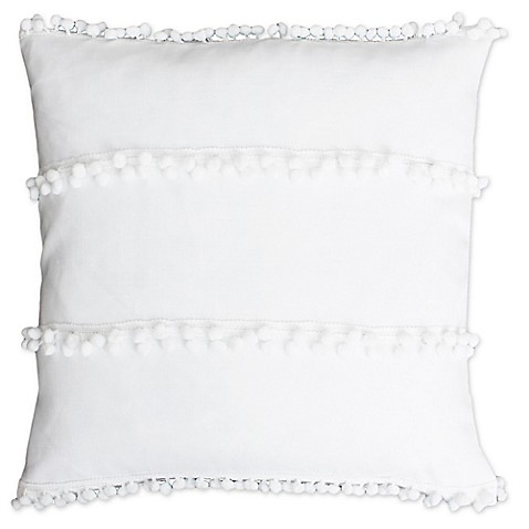 Pepe Pom Pom 20-Inch Square Throw Pillow in White - Bed Bath & Beyond