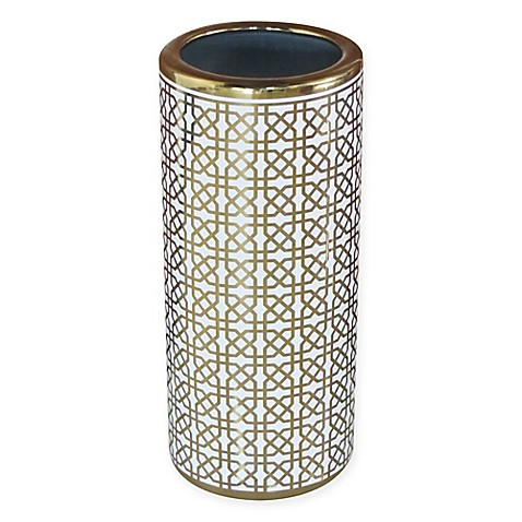 Ceramic Trellis Umbrella Stand in Gold/White at Bed Bath & Beyond in Cypress, TX | Tuggl