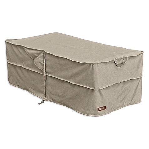 classic accessories montlake patio rectangular coffee table ottoman cover in grey bed bath. Black Bedroom Furniture Sets. Home Design Ideas