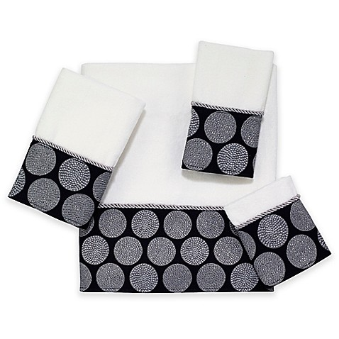 Buy Avanti Dotted Circle Hand Towel In White Black From Bed Bath Beyond