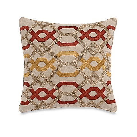 Aari Embroidered & Beaded Square Throw Pillow in Gold/Red - Bed Bath & Beyond