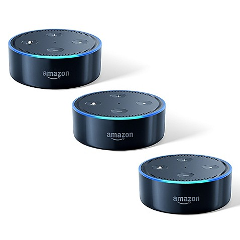 smart home amazon echo dot 3 pack in black 2nd generation from buy buy baby. Black Bedroom Furniture Sets. Home Design Ideas