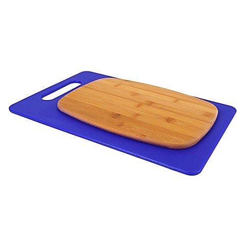 Architec poly bamboo 2 piece cutting board set in blue for Architec cutting board