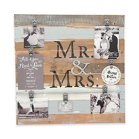 "Sweet Bird & Co. ""Mr. & Mrs."" 22-Inch x 22-Inch 7-Clip Picture Frame at Bed Bath & Beyond in Cypress, TX 