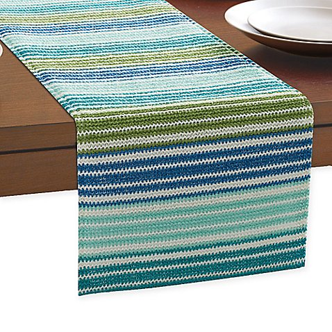 Ombre stripe outdoor indoor table runner bed bath beyond for 85 inch table runner