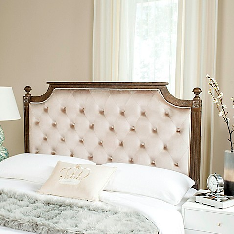 Safavieh Rustic Wood Tufted Velvet Headboard at Bed Bath & Beyond in Cypress, TX | Tuggl