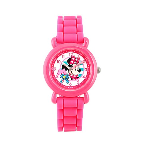Disney Childrens 32mm Minnie Mouse Plastic Watch In Pink