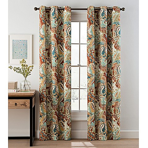 Paisley Grommet Top Window Curtain Panel Pair Bed Bath