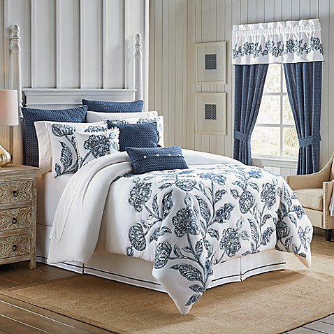 buy croscill clayra california king comforter set in white blue from bed bath beyond. Black Bedroom Furniture Sets. Home Design Ideas