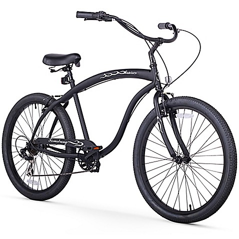 "Firmstrong Men's Bruiser 26"" Seven Speed Beach Cruiser Bicycle in Matte Black at Bed Bath & Beyond in Cypress, TX 