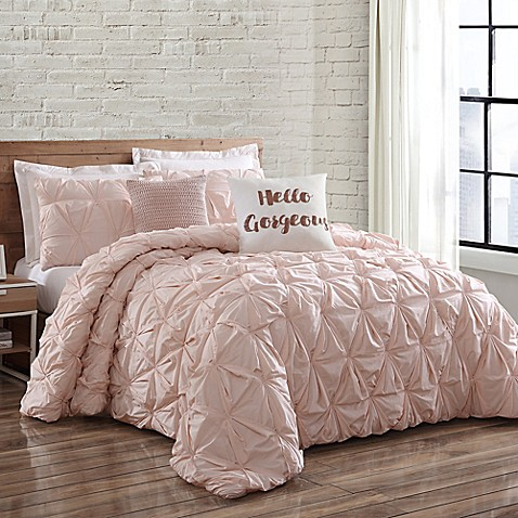 Buy brooklyn loom jackson pleat full queen mini comforter for Brooklyn bedding store