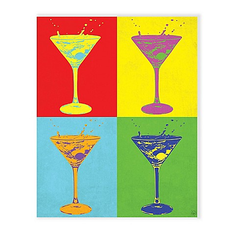 Martini Pop Primer 20 Inch X 24 Inch Metal Wall Art Bed Bath