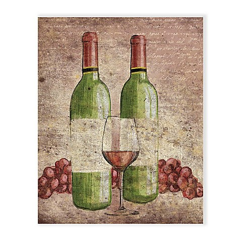 Vintage Grapes and Wine 20-Inch x 24-Inch Metal Wall Art - Bed Bath ...