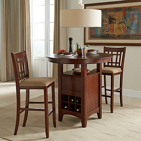 Buy Intercon Furniture Mission Casuals 3 Piece Pub Gathering Set With Bar Stools In Dark Oak