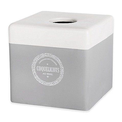 Vintage House Coquelicots Boutique Tissue Box Cover in Grey at Bed Bath & Beyond in Cypress, TX | Tuggl