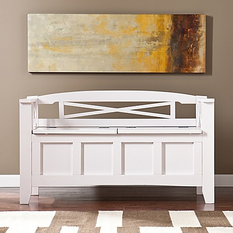 Southern Enterprises Cutler Storage Bench in White at Bed Bath & Beyond in Cypress, TX | Tuggl