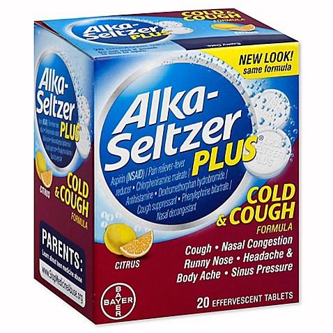 alka seltzer plus 20 count cold and cough formula effervescent tablets in citrus bed bath. Black Bedroom Furniture Sets. Home Design Ideas