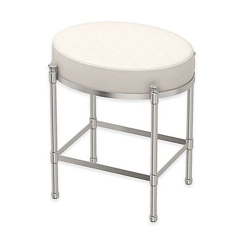 Buy Oval Vanity Stool With White Seat Cushion In Satin Nickel From Bed Bath Beyond