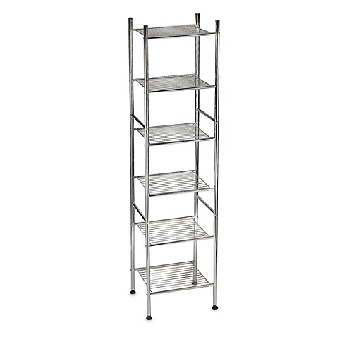 6 tier metal tower shelf in chrome bed bath beyond