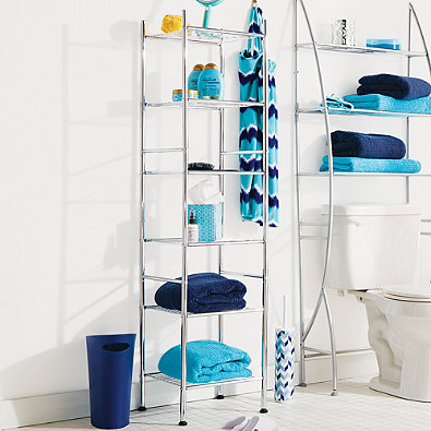 6-Tier Metal Tower Shelf in Chrome