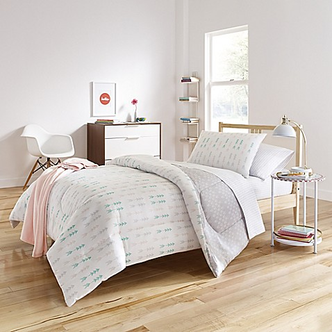 Melina Reversible Comforter Set In White Grey Bed Bath