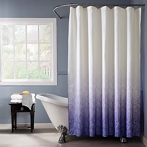 Buy lace ombr shower curtain in purple from bed bath beyond for Purple ombre shower curtain
