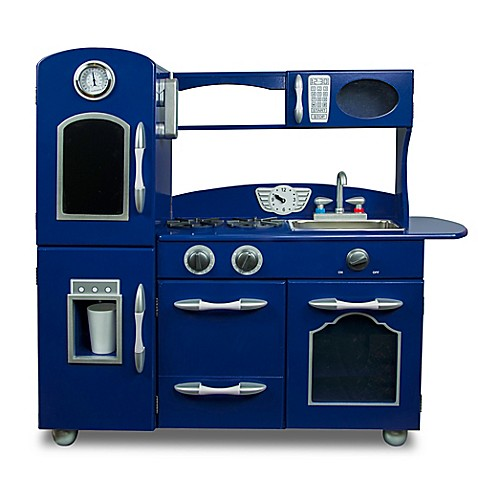 Teamson kids wooden play kitchen set in navy from buy buy baby for Kitchen set for babies