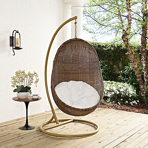 Modway bean patio stand alone swing chair in coffee white for White porch swing with stand