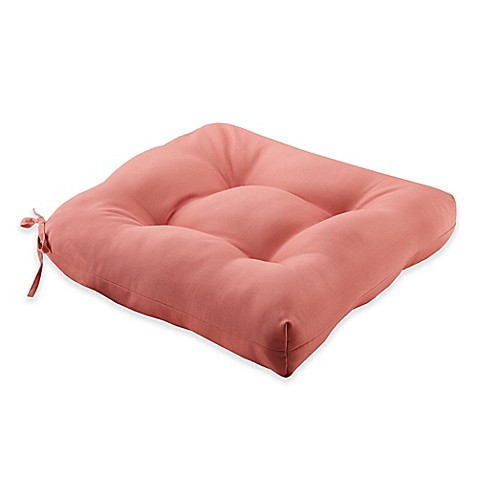 Buy madison park pacifica outdoor seat cushion in coral for Bed bath beyond gel seat cushion