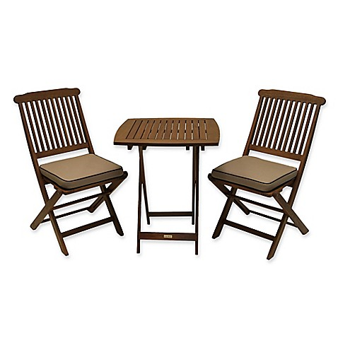 Buy Outdoor Interiors Eucalyptus Wood 3 Piece Round Bistro Set With Tan Cushions From Bed Bath