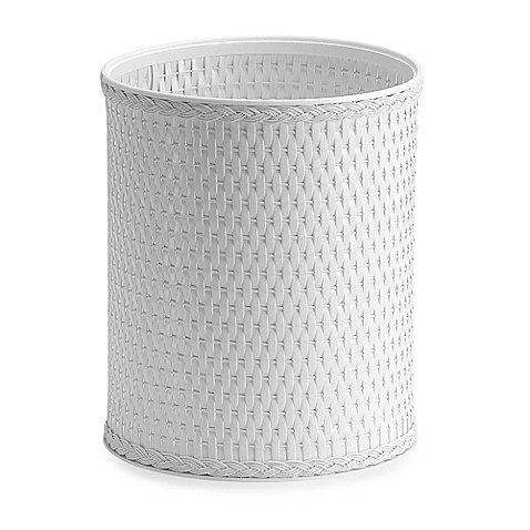 Redmon white wicker wastebasket bed bath beyond - Wicker trash basket ...