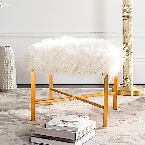 Safavieh Horace Faux Sheepskin Bench in Gold Foil at Bed Bath & Beyond in Cypress, TX | Tuggl