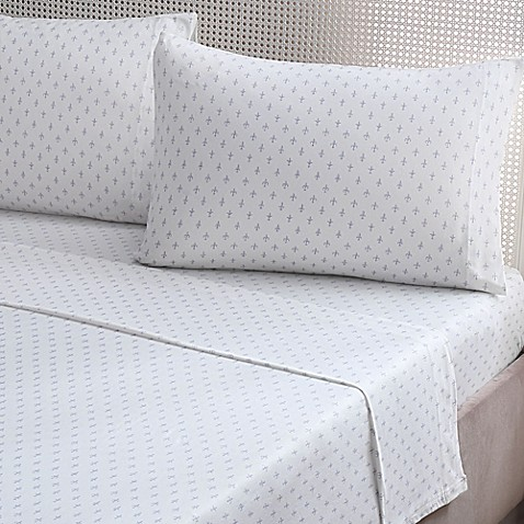 Buy brielle fashion fleur de lis cotton jersey king sheet set in blue from bed bath beyond - Fleur de lis bed sheets ...