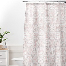 Deny Designs Dash and Ash Rose Bud Mud Cloth Shower Curtain in Pink