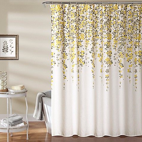 Weeping Flower 72 Inch Shower Curtain In Yellow Grey Bed