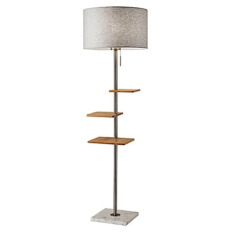 adesso griffin shelf floor lamp with usb ports bed bath beyond. Black Bedroom Furniture Sets. Home Design Ideas