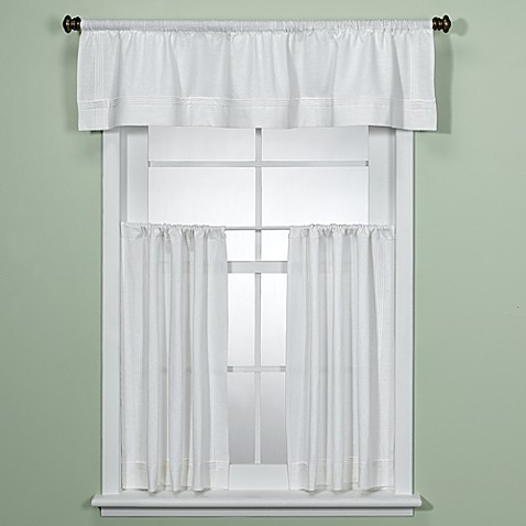 Maison white kitchen valance bed bath beyond for Kitchen window curtains