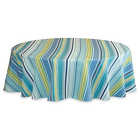 Buy Capri Stripe 60 Inch Round Tablecloth In Aqua From Bed